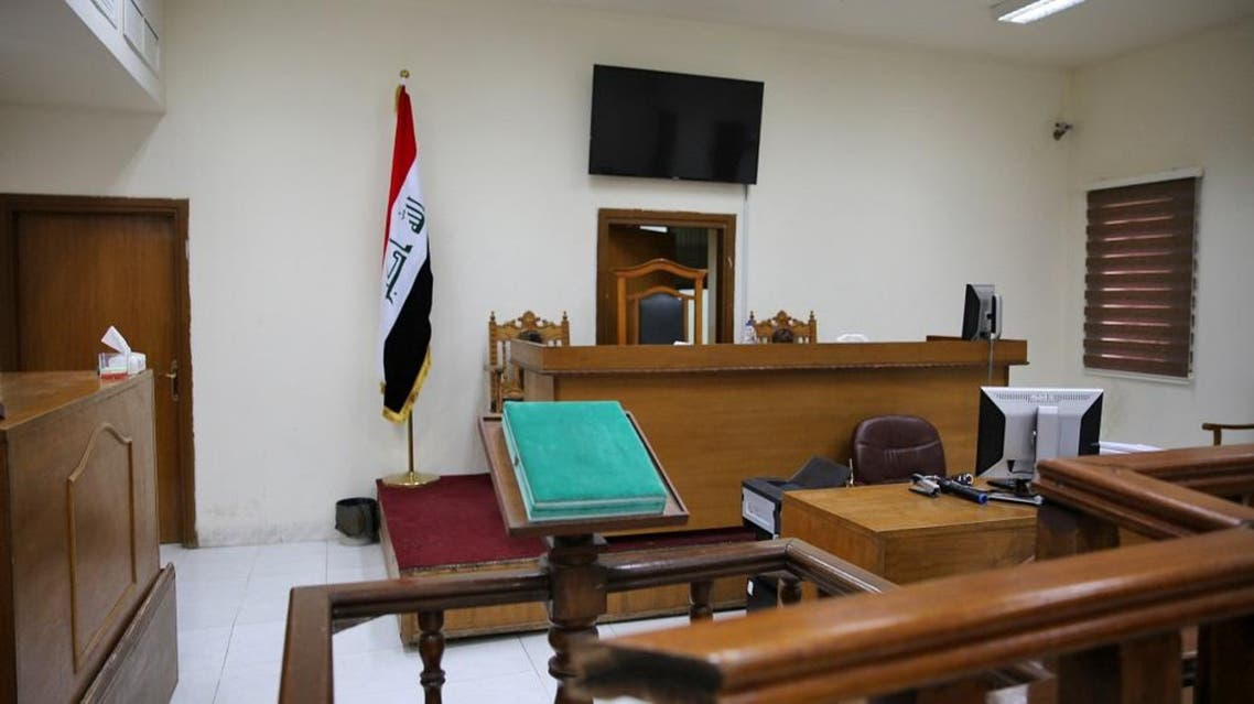A picture shows a courtroom at Baghdad's Karkh main appeals court building in the western sector of the Iraqi capital. (AFP)