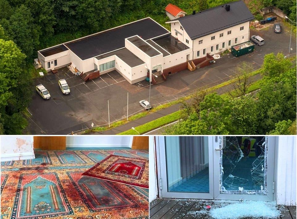 دخل إلى صحن المسجد بتحطيمه الباب الزجاجي، وفي الداخل جرح مصلٍ نزف الكثير من الدم على السجاد