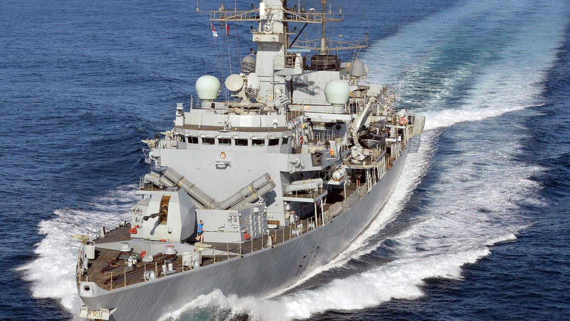 This February 5, 2015 handout photo released by the Ministry of Defence in London on August 12, 2019, shows Britain's HMS Kent as the Type 23 frigate warship carries out duties off the coast of Djibouti. Britain's HMS Kent left Portsmouth Naval Base on August 12, 2019, to take over duties in the Strait of Hormuz from Type 45 defender HMS Duncan. Britain said earlier this month it would join the United States in an international maritime security mission to protect merchant vessels in the Strait of Hormuz amid heightened tension with Iran. The move follows a spate of incidents -- including the seizure of ships -- involving Iran and Western powers, in particular Britain and the US, centred on the vital Gulf thoroughfare.