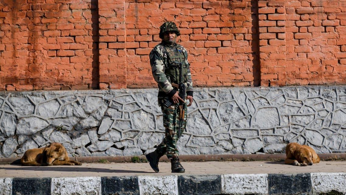 India soldier kashmir Pakistan lockdown dogs 2019 - AP