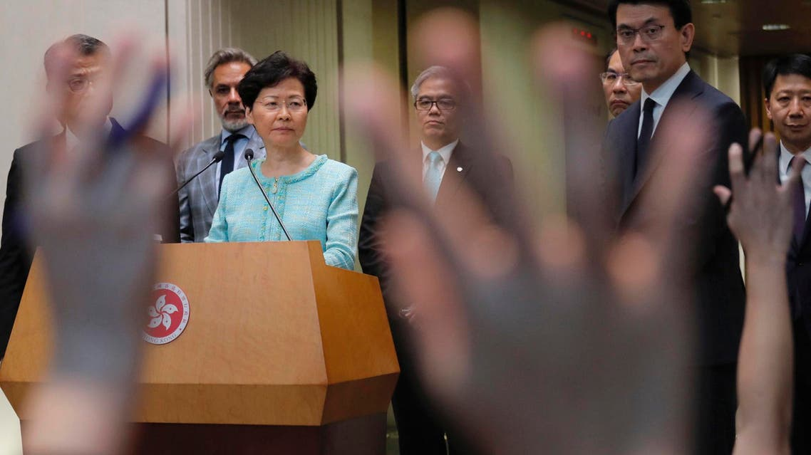 Hong Kong Chief Executive Carrie Lam waits for questions during a press conference in Hong Kong Friday, Aug. 9, 2019. (AP)