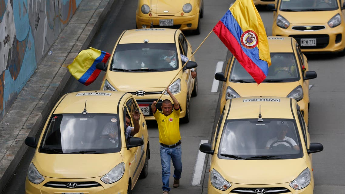 Colombia taxi drivers protest uber - AP