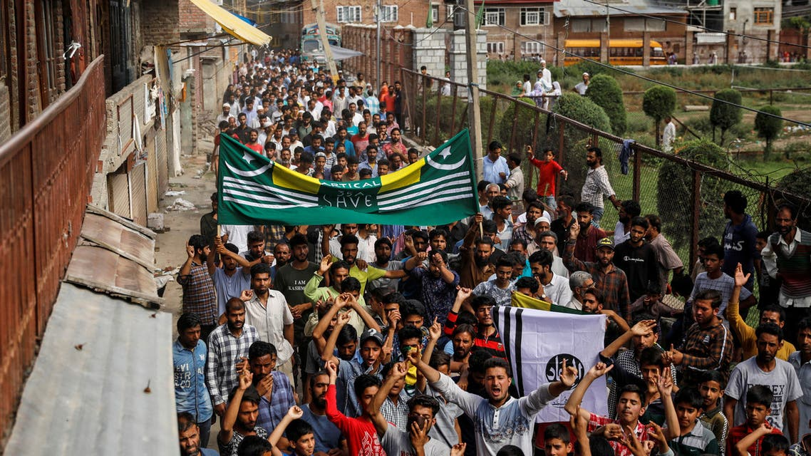 Kashmiri men shout slogans during a protest after the scrapping of the special constitutional status for Kashmir by the Indian government, in Srinagar, August 11, 2019. REUTERS/Danish Siddiqui