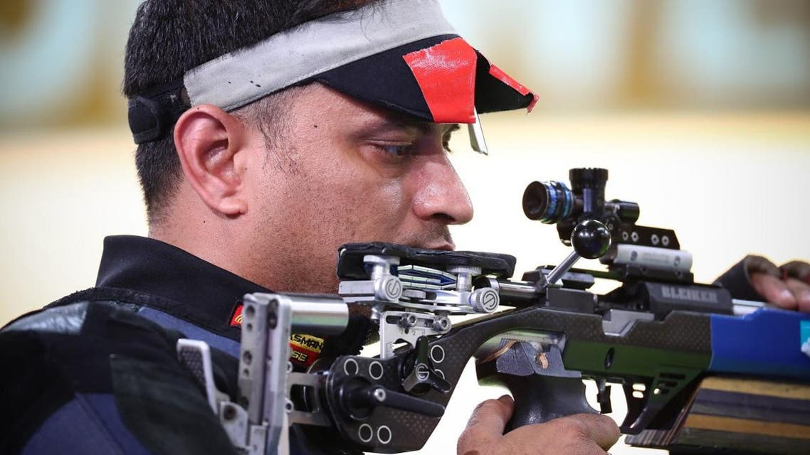 India's Sanjeev Rajput competes in the men's 50m rifle 3 positions shooting final during the 2018 Gold Coast Commonwealth Games at the Belmont Shooting Complex in Brisbane.  (AFP)