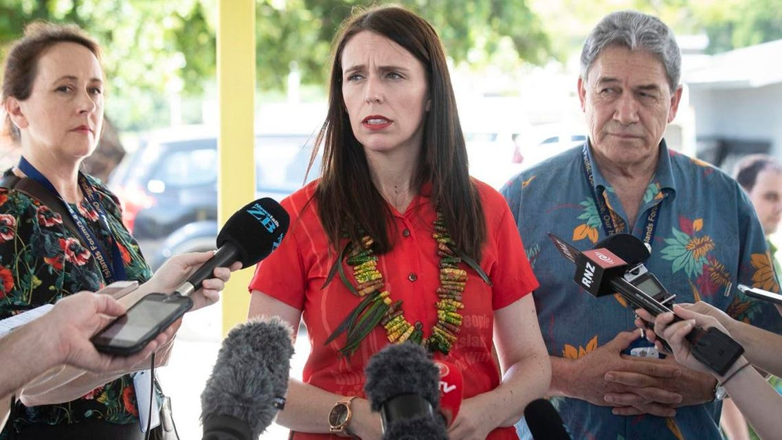 New Zealand's Prime Minister Jacinda Ardern, (center), and Foreign Affairs Minister Winston Peters, right, speak to the media during the Pacific Islands Forum in Nauru. (AFP)