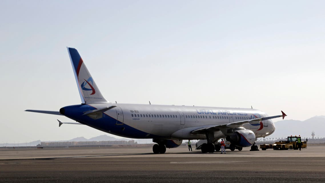 A Ural Airlines plane is parked on the tarmac at Sharm el-Sheikh Airport, south Sinai, Egypt, Monday, Nov. 9, 2015. (AP)