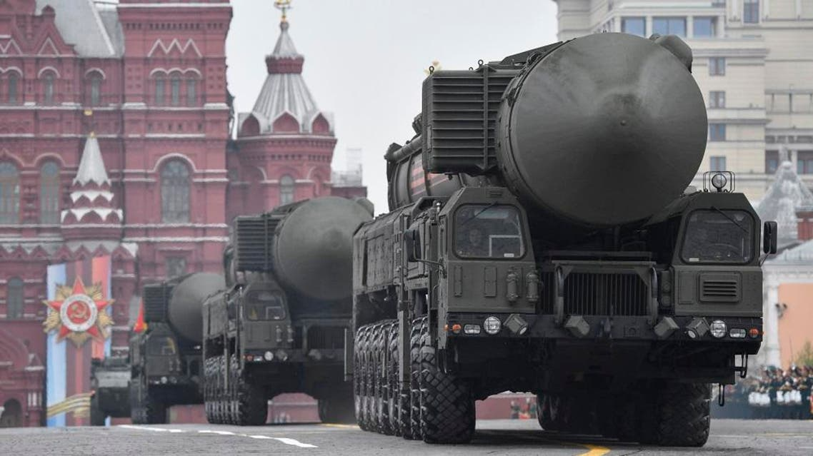 Russian Yars RS-24 intercontinental ballistic missile systems roll through Red Square during the Victory Day military parade. AFP