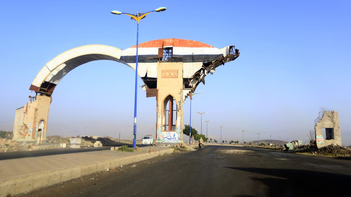 A picture taken on July 6, 2019 shows a gate damaged during past Saudi-led coalition air strikes, in the province of Amran, some 50 kilometres (30 miles) north of the Yemeni capital Sanaa. Amran, a strategic gateway to Yemen's capital Sanaa, was taken by the Iran-backed Huthis on July 8, 2014.