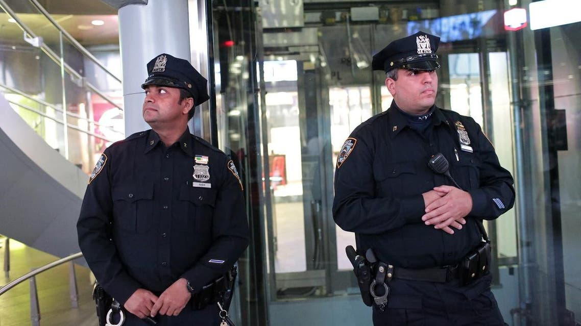 Police are seen near the Fulton Street Subway Station Iin New York. (AFP)