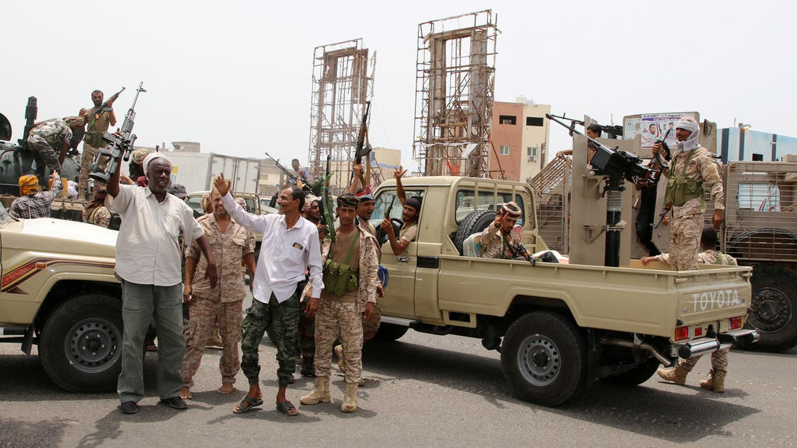 Members of UAE-backed southern Yemeni separatists forces are seen together with their supporters as they march during a rally in southern port city in Aden, Yemen August 15, 2019. REUTERS/Fawaz Salman