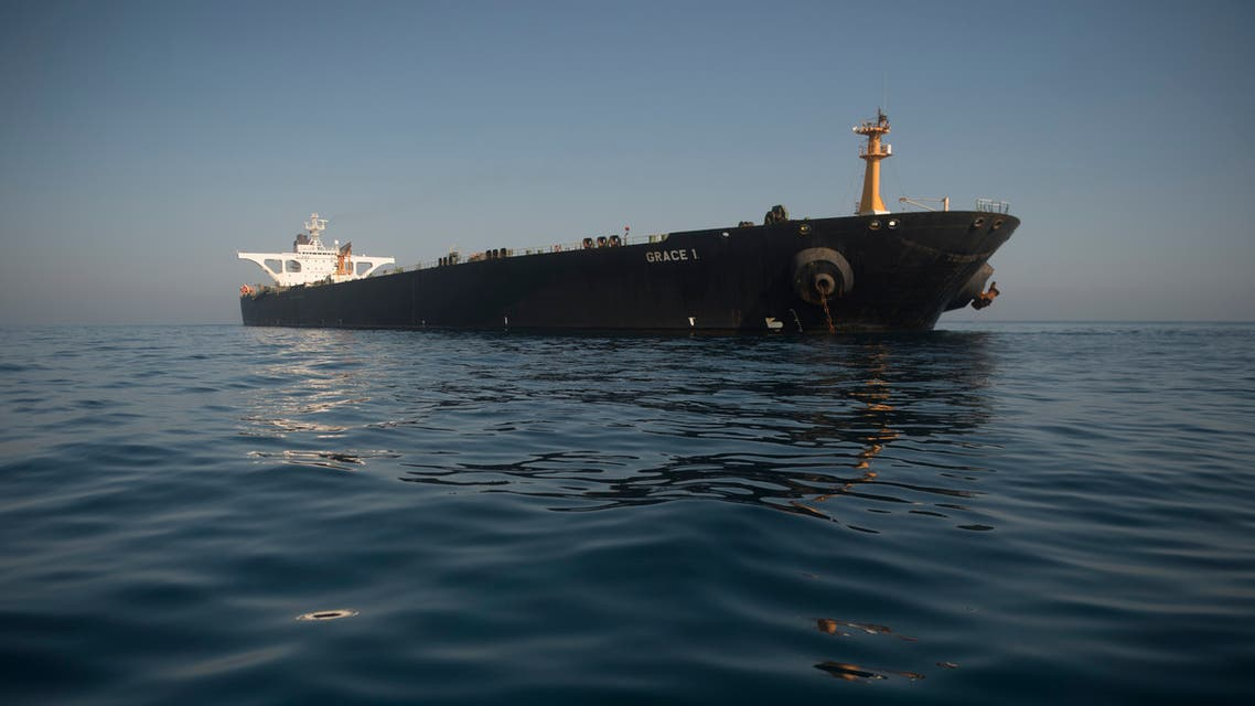 Picture shows Iranian supertanker Grace 1 off the coast of Gibraltar on August 15, 2019. Gibraltar's Supreme Court ruled today to release an Iranian supertanker seized last month on suspicion of shipping oil to Syria in breach of EU sanctions, despite a last-minute US request to detain the vessel.