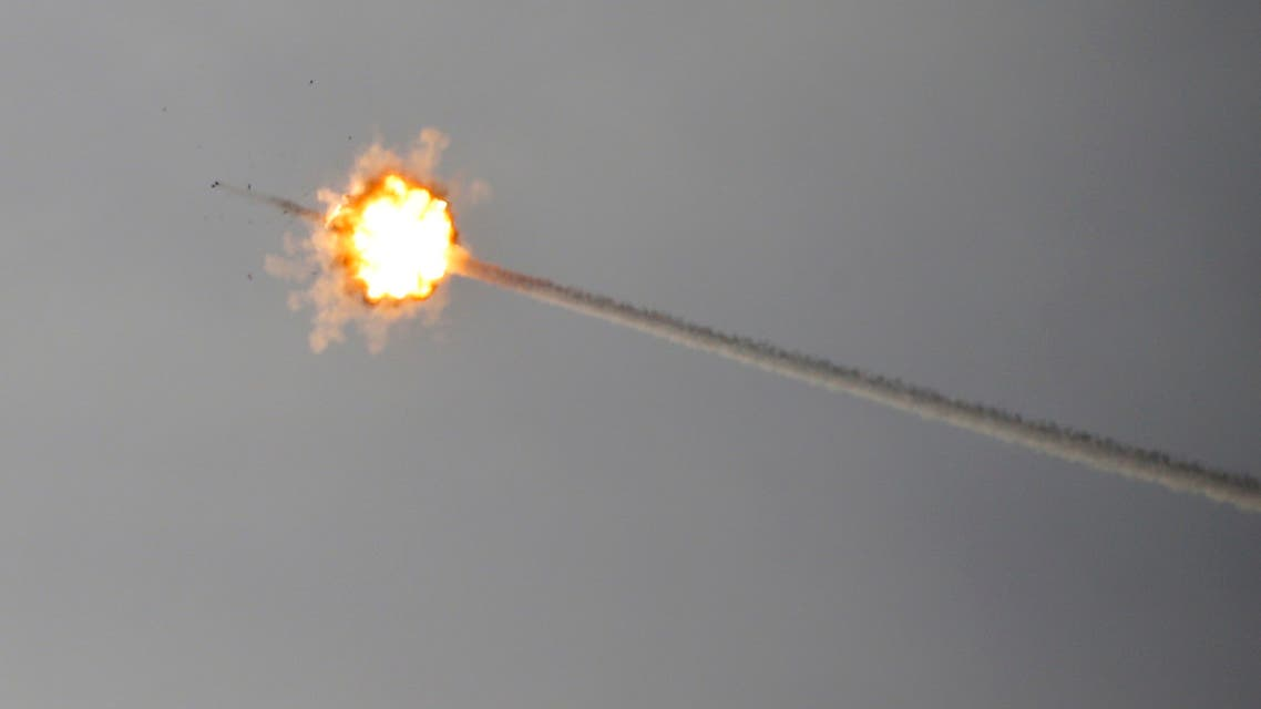 A missile fired from Israel's Iron Dome air defence system intercepts a rocket fired from Gaza on May 5, 2019 along the Israeli-Gaza border.