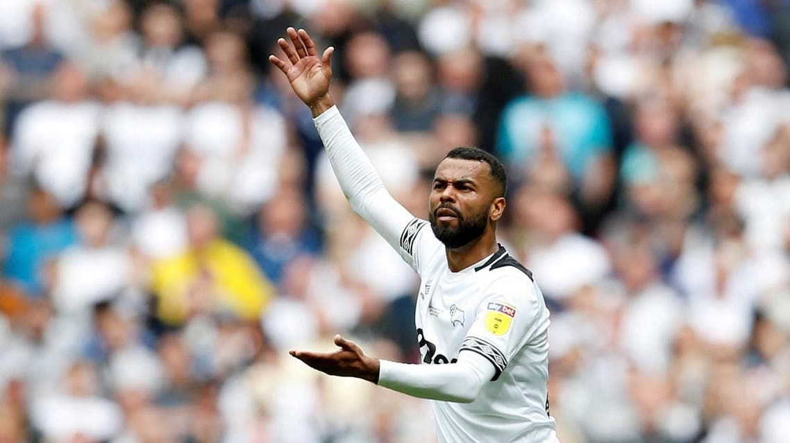 Derby County's Ashley Cole reacts during a game. (Action Images via Reuters)