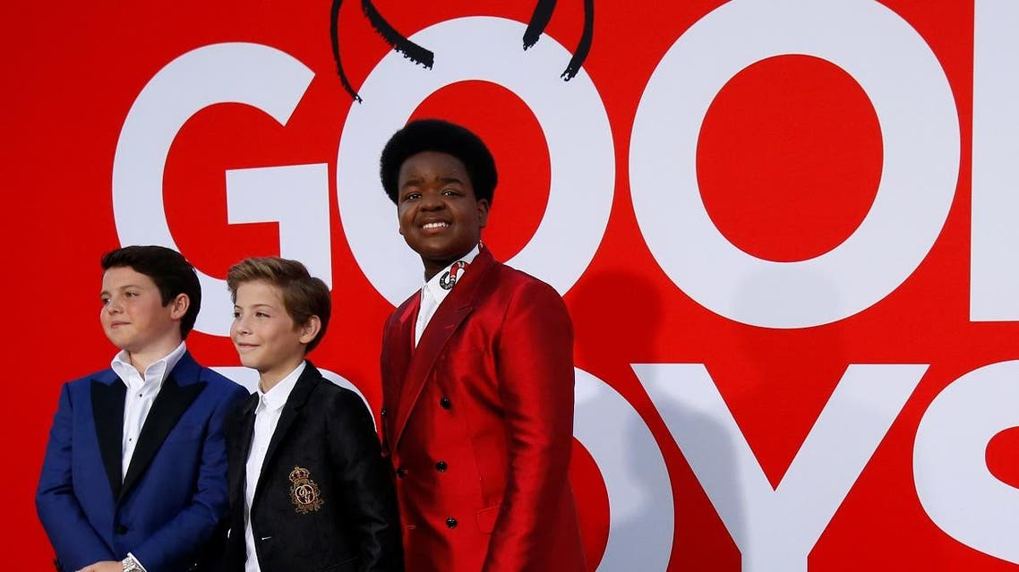"""Cast members Keith L. Williams, Jacob Tremblay and Brady Noon at the premiere for the film """"Good Boys"""" in Los Angeles. (reuters)"""