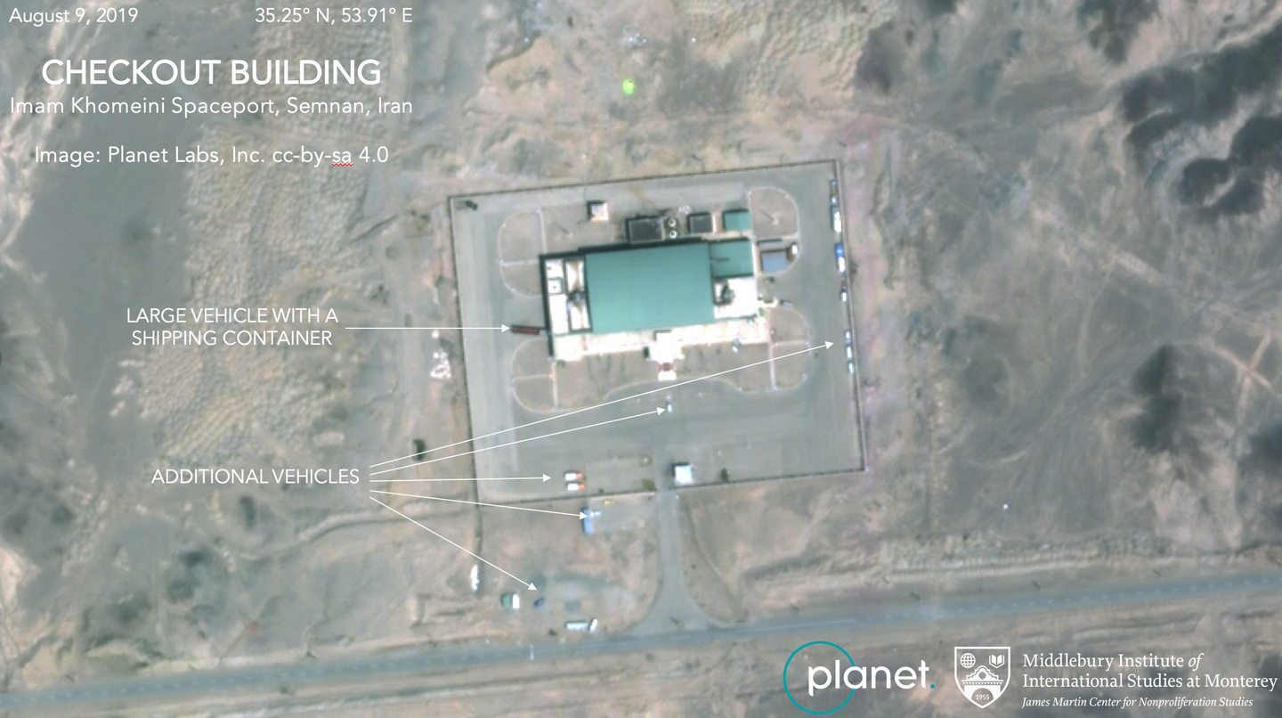 This Aug. 9, 2019, satellite image from Planet Labs Inc., that has been annotated by experts at the James Martin Center for Nonproliferation Studies at Middlebury Institute of International Studies, shows activity at the Imam Khomeini Space Center in Iran's Semnan province. (Photo courtesy: Middlebury Institute)