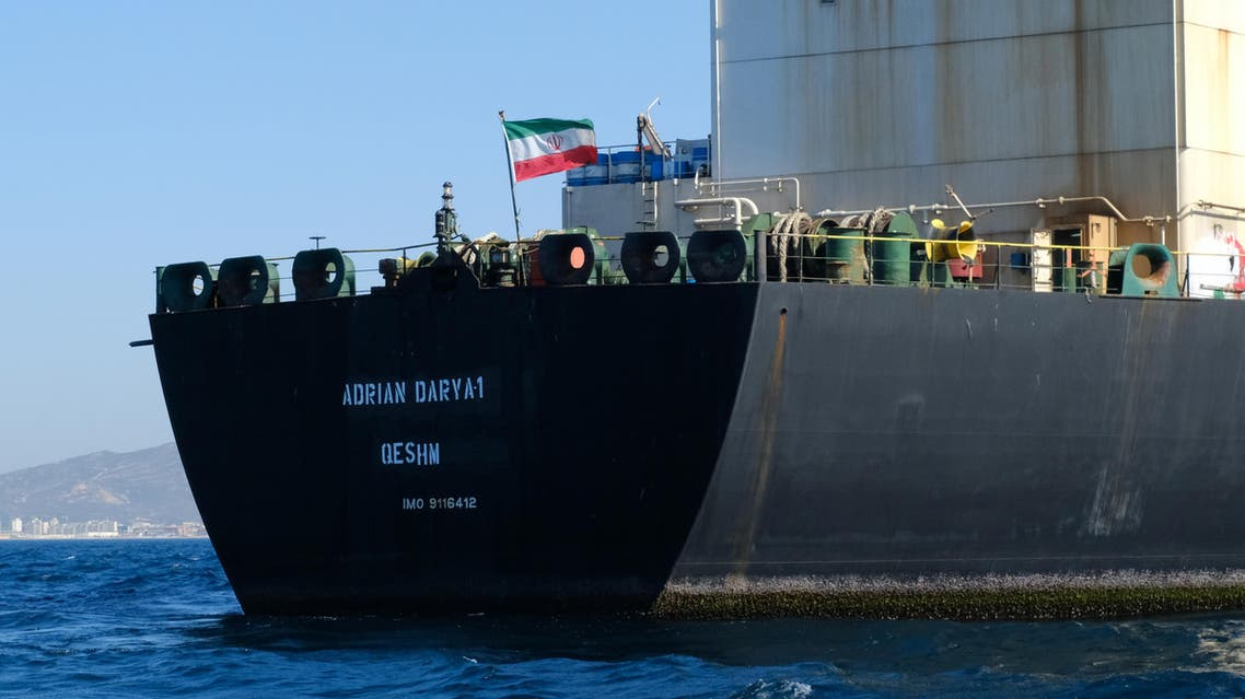 An Iranian flag flutters on board the Adrian Darya oil tanker, formerly known as Grace 1, off the coast of Gibraltar on August 18, 2019.  (AFP)