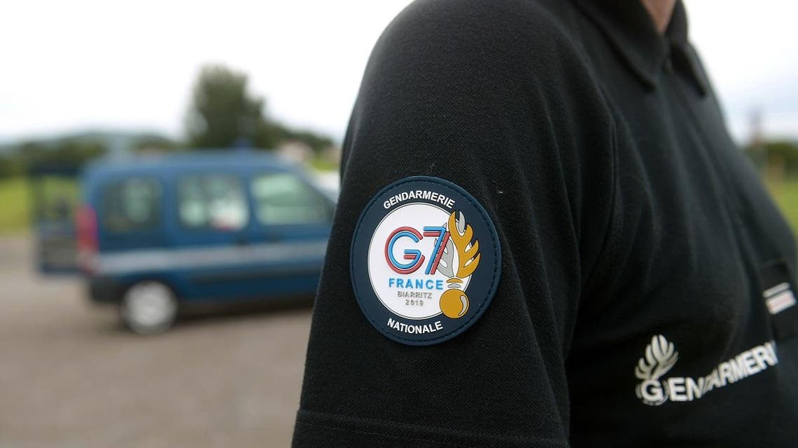 A picture shows a badge of a French gendarme G7 security detail during a drone testing on the aerodrome of Itxassou, southwestern Framnce, on August 19, 2019, ahead of a Group of Seven (G7) summit held in nearby Biarritz from August 24 to 26, 2019. (AFP)