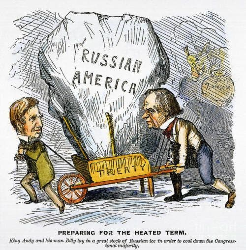 صورة كاريكاتيرية تجسد سخرية الشارع الأميركي من صفقة ألاسكا