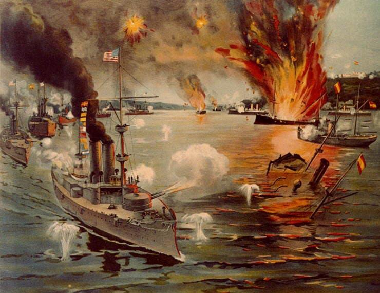 لوحة لإحدى المعارك بالحرب الأميركية الإسبانية سنة 1898