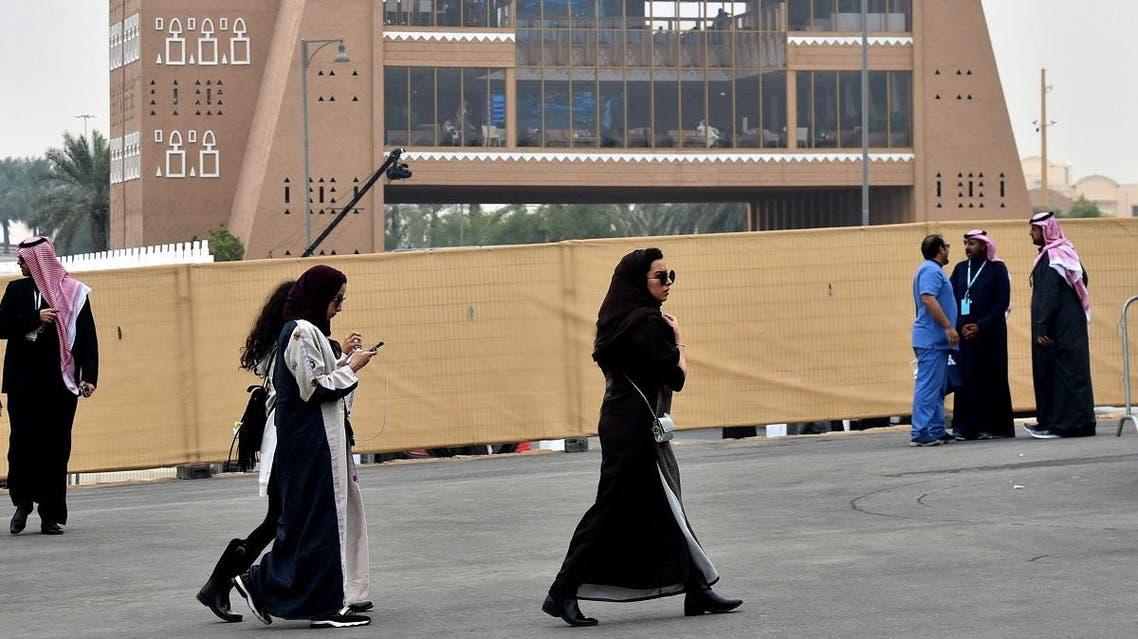Saudi women walk pior to the 2018 Saudia Ad Diriyah E-Prix Formula E Championship in Riyadh. (File photo: AFP)