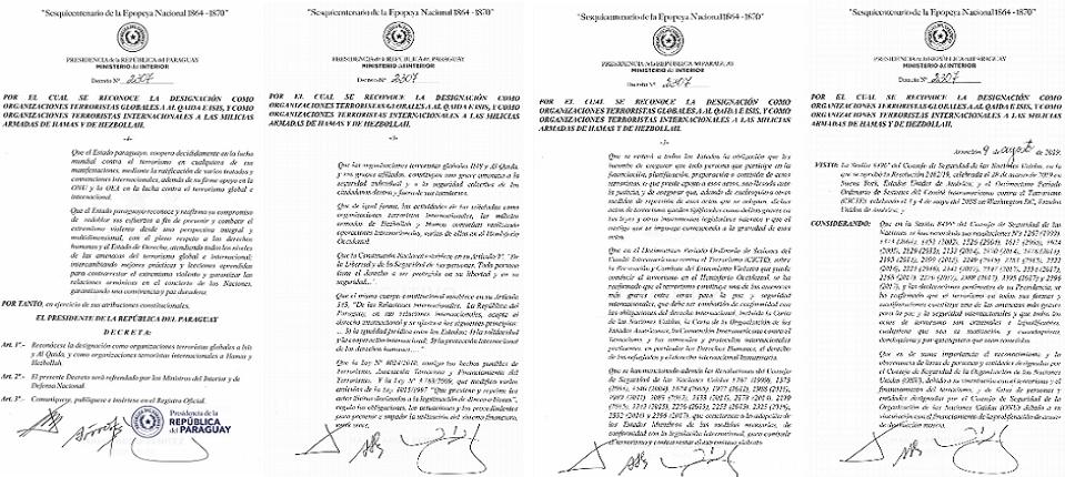 المرسوم الجمهوري مؤرخ في 9 أغسطس الجاري، ووقعه رئيس البارغواي اللبناني الأصل ماريو عبدو بينيتز
