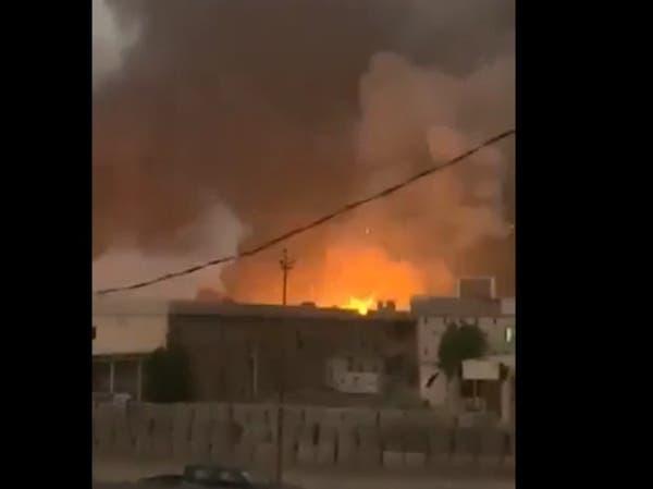 الصور الأولية لانفجار ضخم استهدف سلاح حزب الله العراقي
