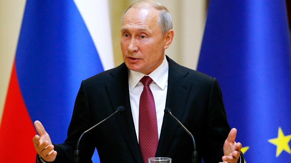 Russian President Vladimir Putin speaks during a press conference after his meeting with Finland's President at the president's official residence Mantyniemi in Helsinki, on August 21, 2019. (AFP)