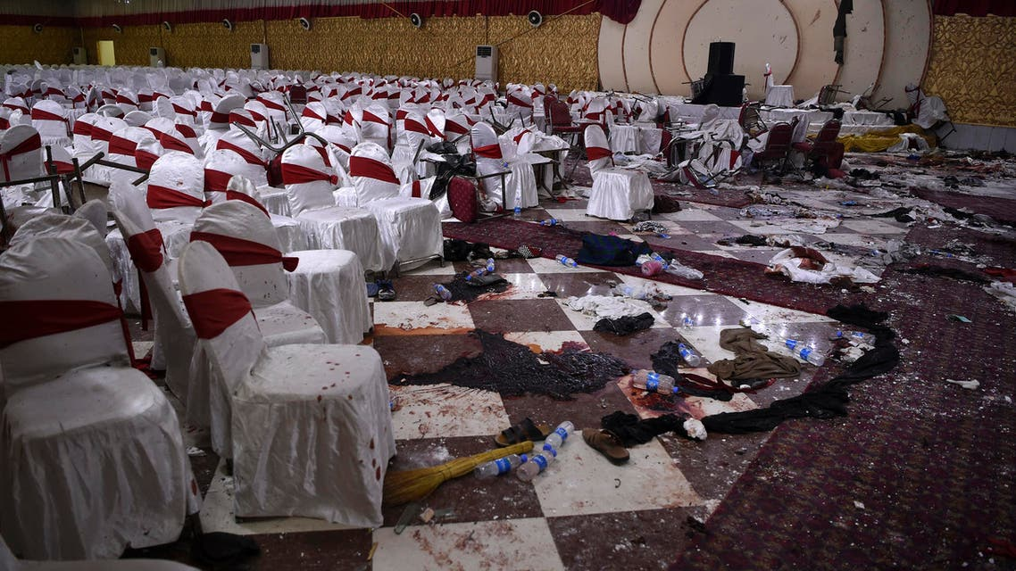 n this file photo taken on November 21, 2018, an Afghan wedding hall is pictured a day after a deadly suicide attack in Kabul. (AFP)