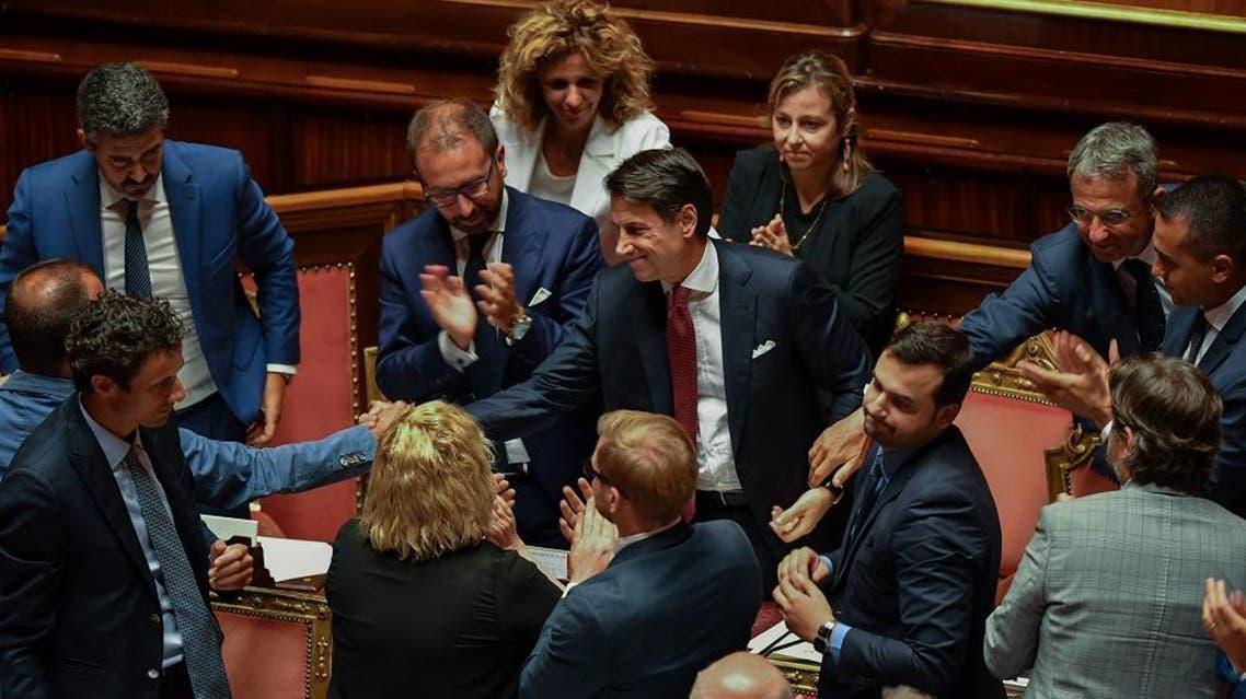 Italian Prime Minister Giuseppe Conte (C). (AFP)
