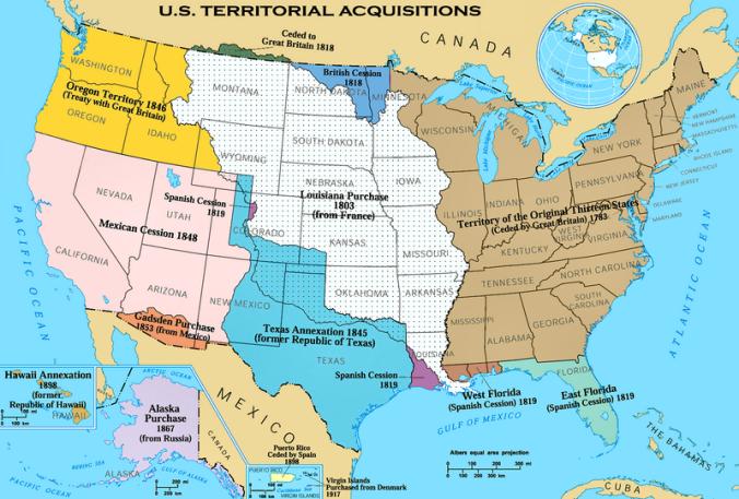 خريطة تجسد جنوباً المناطق التي خسرتها المكسيك لصالح الأميركيين