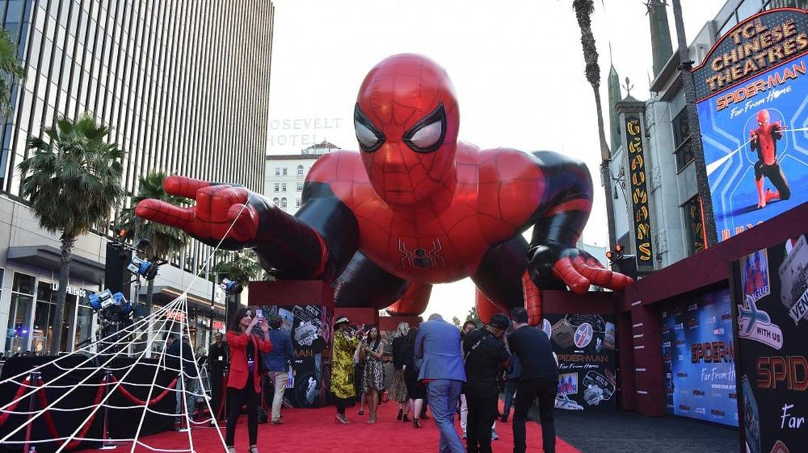 "A giant inflatable Spider-Man is displayed on the red carpet for the ""Spider-Man: Far From Home"" World premiere. (File photo: AFP)"