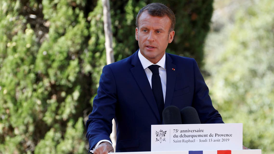 FILE PHOTO: French President Emmanuel Macron delivers a speech during a ceremony marking the 75th anniversary of the Allied landings in Provence in World War Two which helped liberate southern France, in Boulouris, France, August 15, 2019. REUTERS/Eric Gaillard/Pool/File Photo