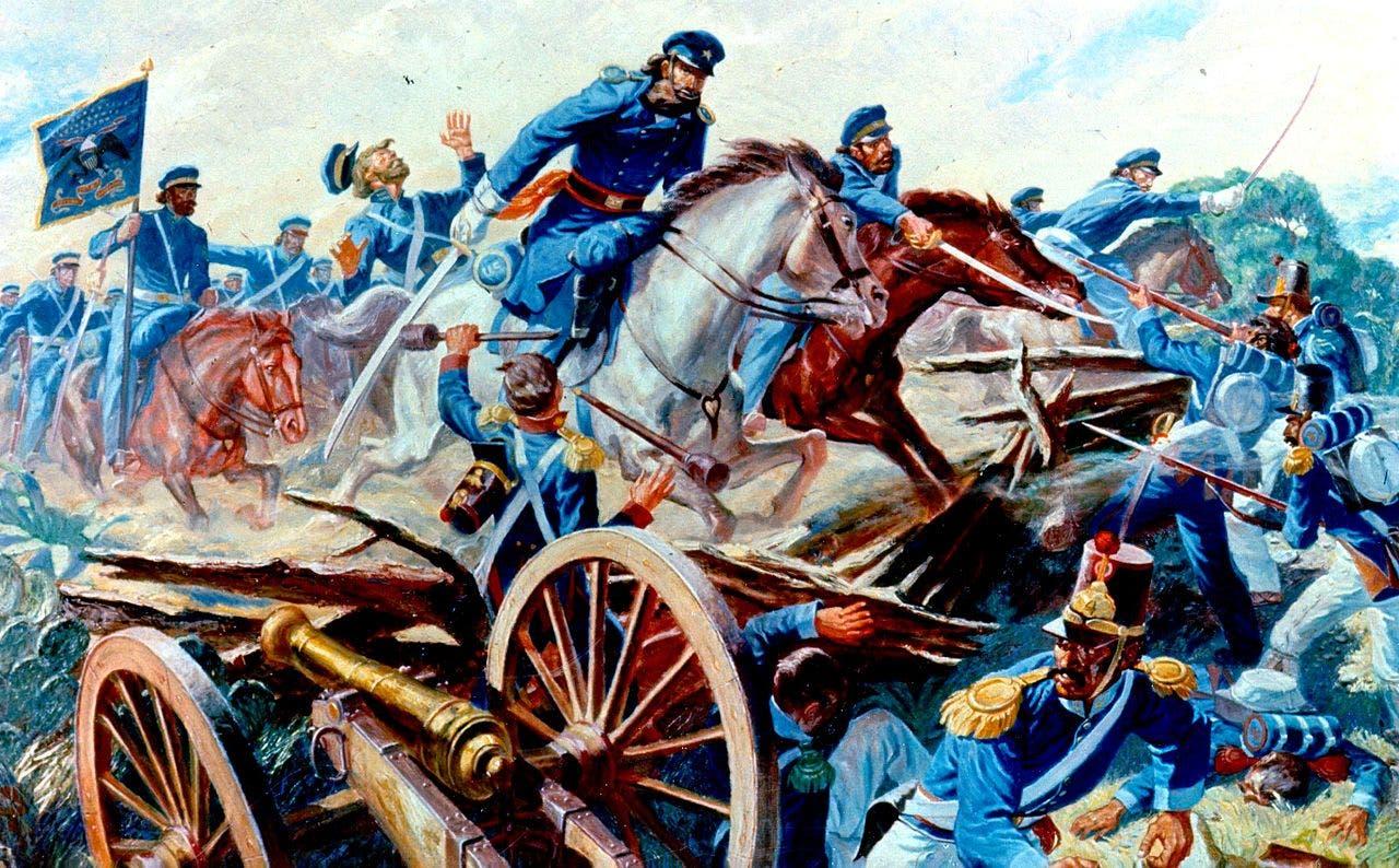 لوحة تجسد جانباً من المعارك في خضم الحرب الأميركية المكسيكية