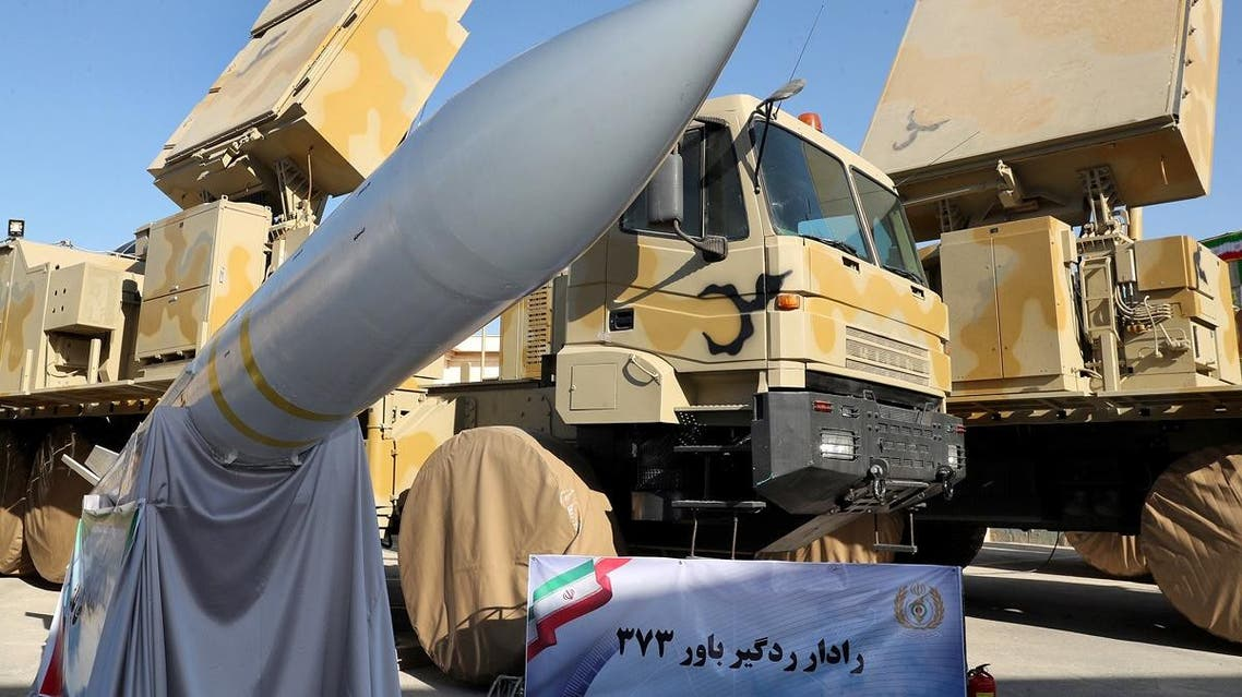 A handout picture provided by the Iranian presidential office shows Iranian-made air defence missile system Bavar 373 (believe in farsi) during a ceremony in Tehran on August 22, 2019. (AFP)