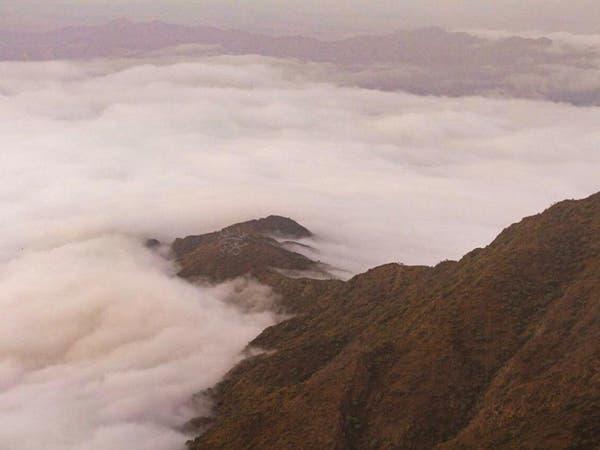 صور مذهلة للضباب يلف جبال جنوب السعودية