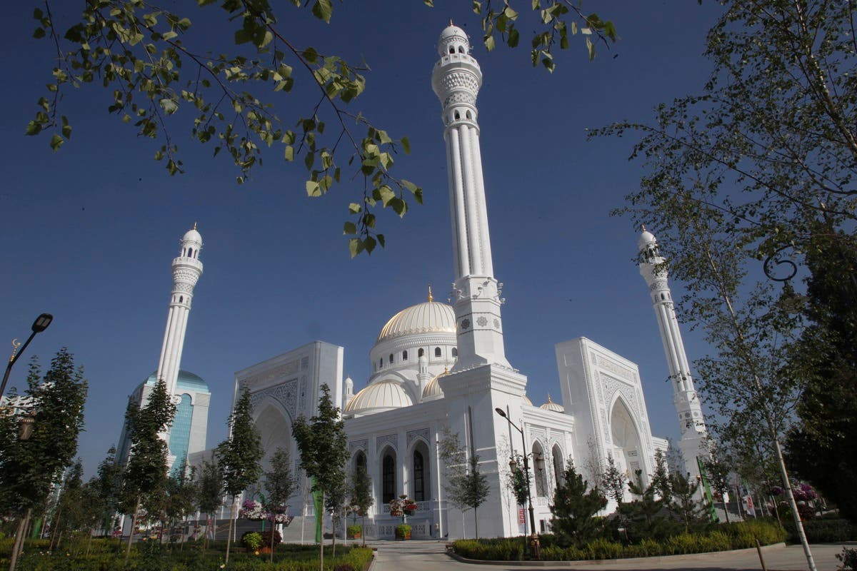 A view of the new mosque that opened in Shali, Russia, and is believed to be Europe's largest on Thursday, Aug. 22, 2019. (AP)