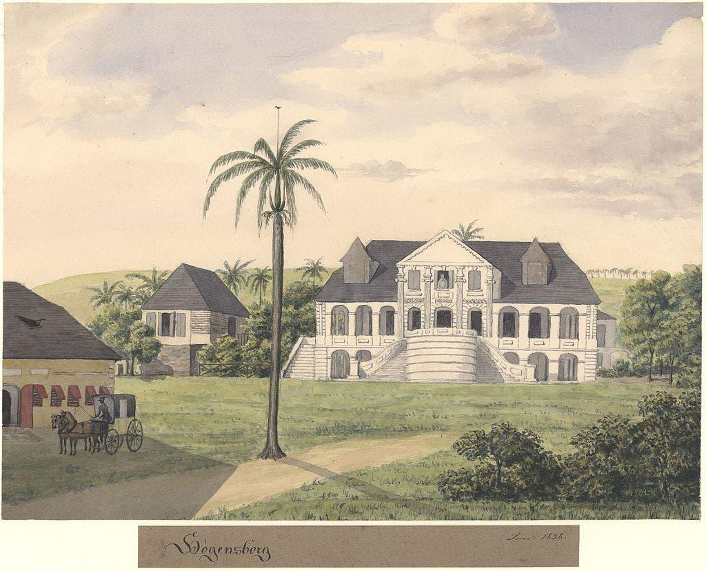 لوحة زيتية لإحدى المناطق بجزيرة سانت كروا