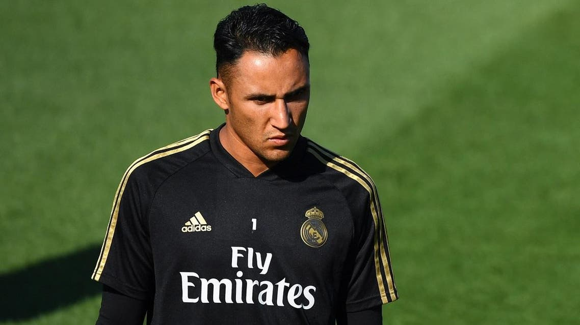 Real Madrid's Costa Rican goalkeeper Keylor Navas attends a training session at the Ciudad Real Madrid training ground in Valdebebas near Madrid on August 23, 2019. (AFP)