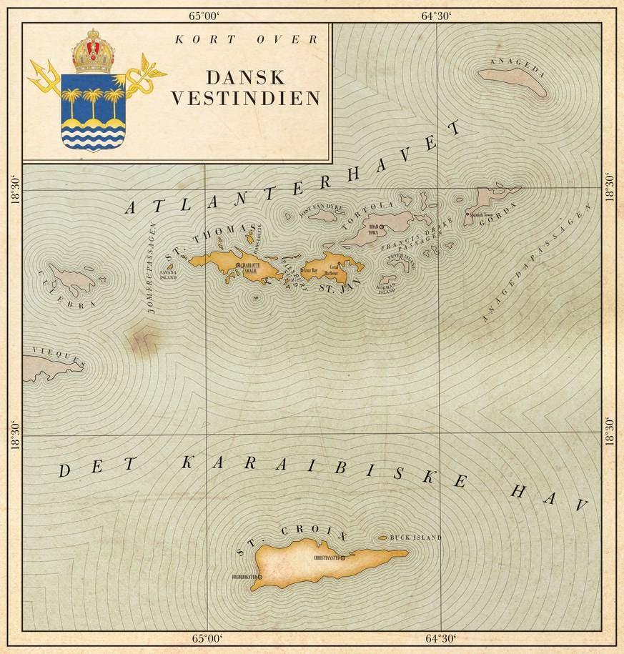 خريطة دنماركية قديمة لجزر الهند الغربية الدنماركية