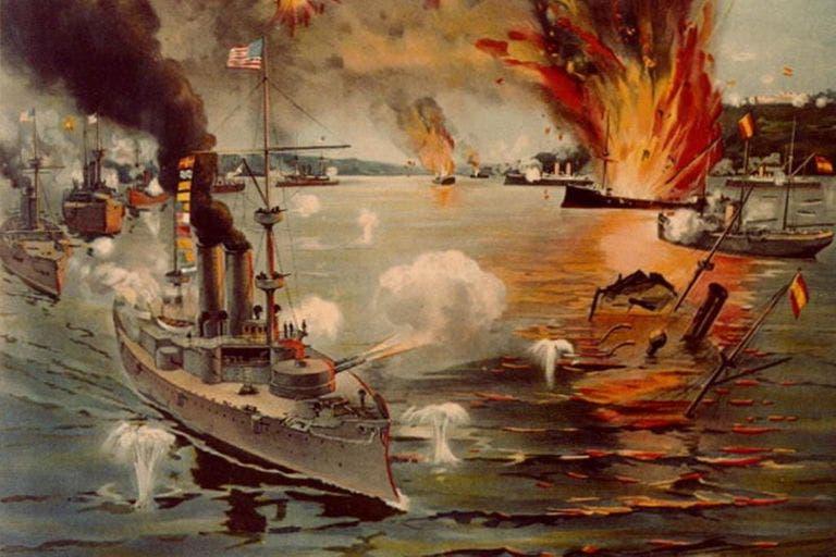 لوحة تجسد إحدى المعارك بالحرب الأميركية الإسبانية