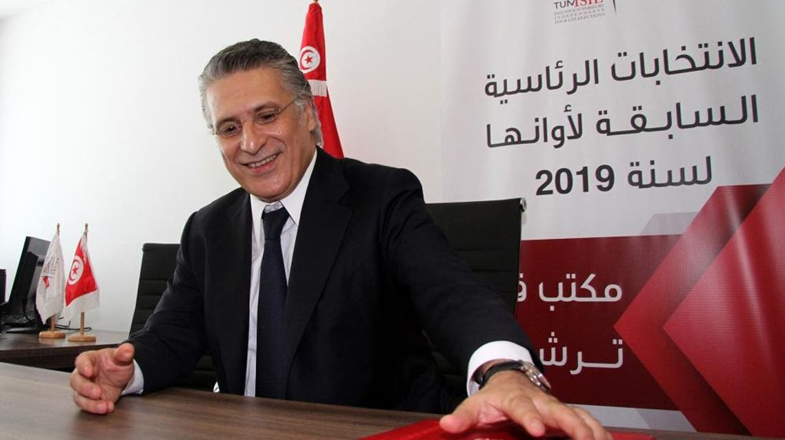 Tunisian presidential candidate and founder of a major private television channel, Nabil Karoui. (AFP)