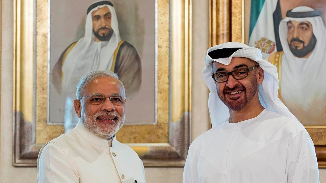 Sheikh Mohamed bin Zayed Al Nahyan, Crown Prince of Abu Dhabi and Deputy Supreme Commander of the UAE Armed Forces (right), shakes hands with Narendra Modi, Prime Minister of India, at the Emirates Palace hotel in Abu Dhabi, UAE, on Aug. 17, 2015. (File photo: AP)