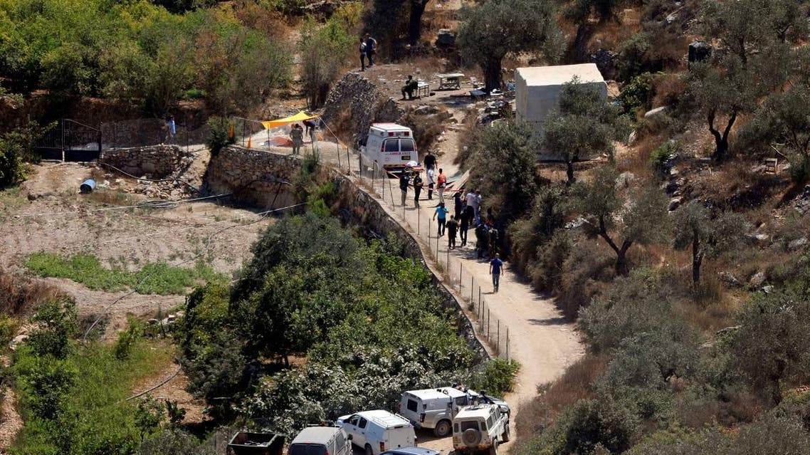 View shows the scene of an attack near the Jewish settlement of Dolev in the Israeli-occupied West Bank. (Reuters)