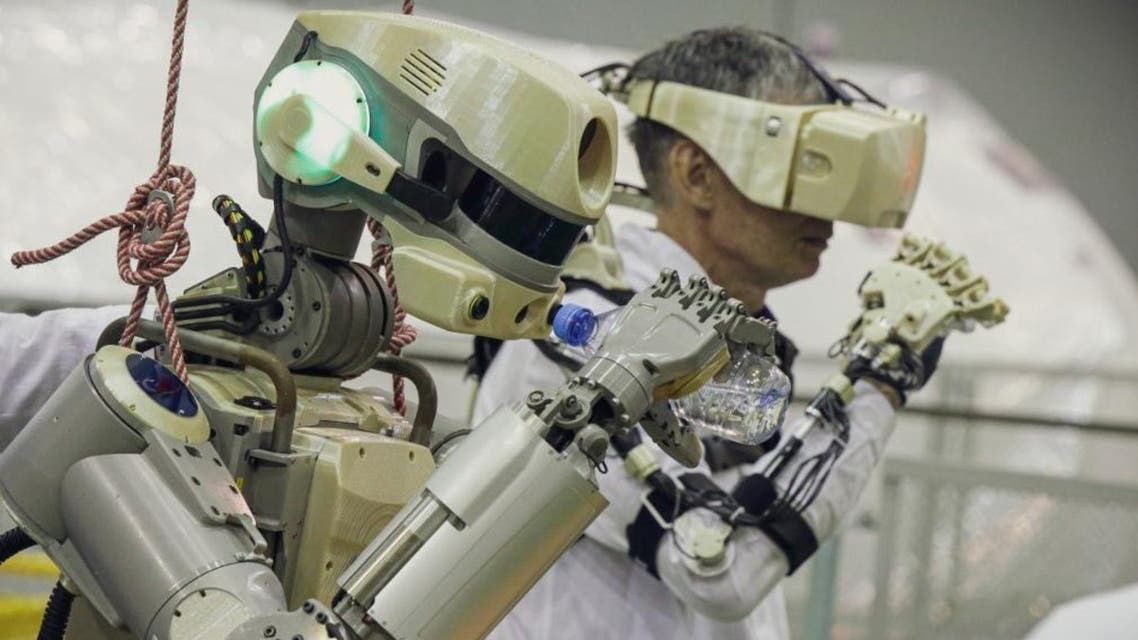 This handout picture taken on July 26, 2019 and released by the official website of the Russian State Space Corporation ROSCOSMOS on August 21, 2019 shows Russian humanoid robot Skybot F-850 (Fedor). (AFP)
