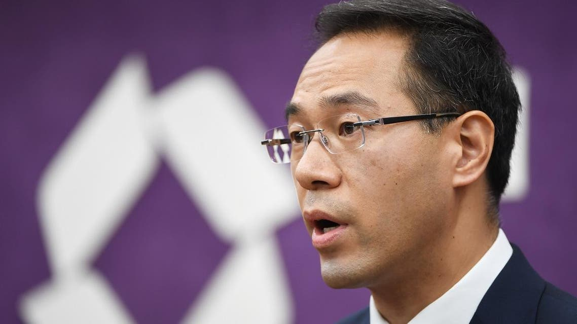 Chinese Ministry of Commerce spokesman Gao Feng speaks at a press conference in Beijing. (AFP)