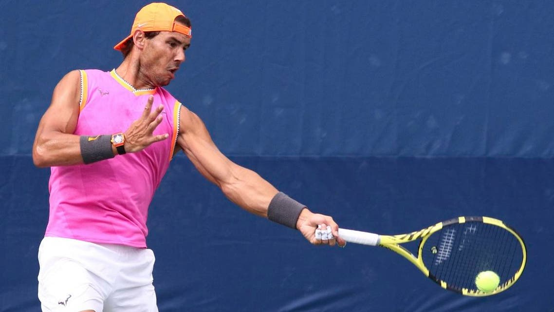 Rafael Nadal during a practice session during the US Open tennis tournament fan week at the USTA Billie Jean King National Tennis Center on August 21, 2019, in New York. (AP)