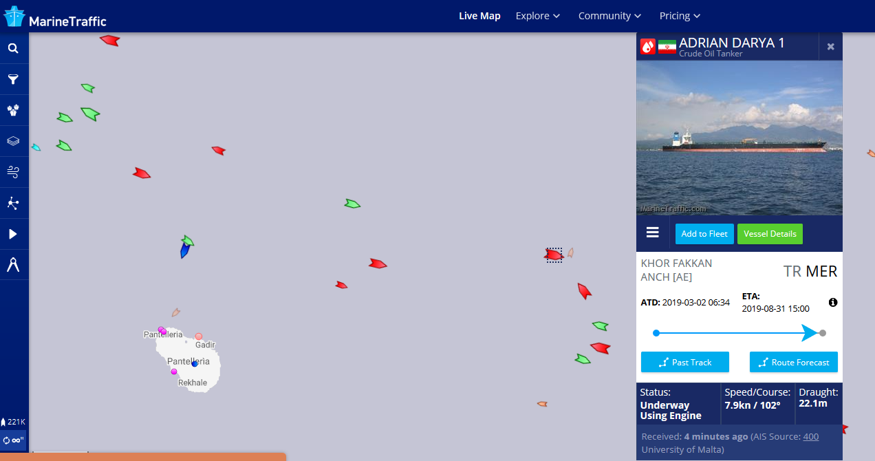 The crew of the Adrian Darya 1, formerly known as the Grace 1, changed its listed destination in its Automatic Identification System to Mesrin, Turkey. (Screengrab)