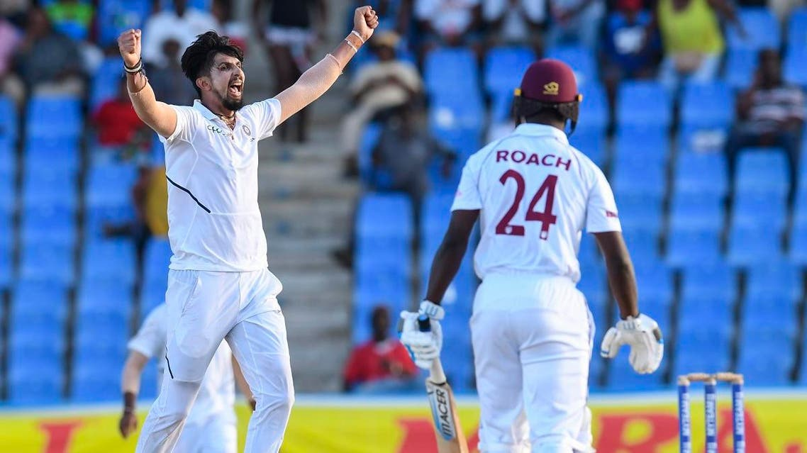 Ishant Sharma (L) of India celebrates the dismissal of Kemar Roach (R) of West Indies during day 2 of the 1st Test in Antigua and Barbuda, on August 23, 2019. (AFP)