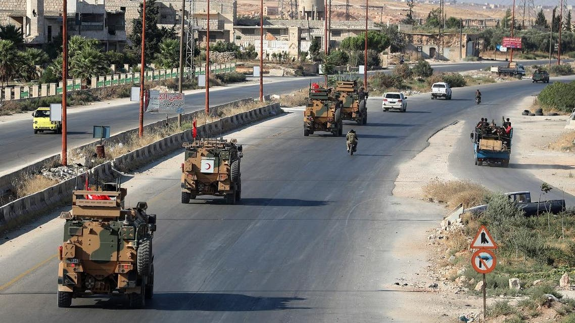A picture taken on August 22, 2019 shows Turkish military vehicles passing through Maaret al-Numan in Syria's northern province of Idlib, heading back to Turkey after a reported two day mission into Syria. (File photo: AFP)