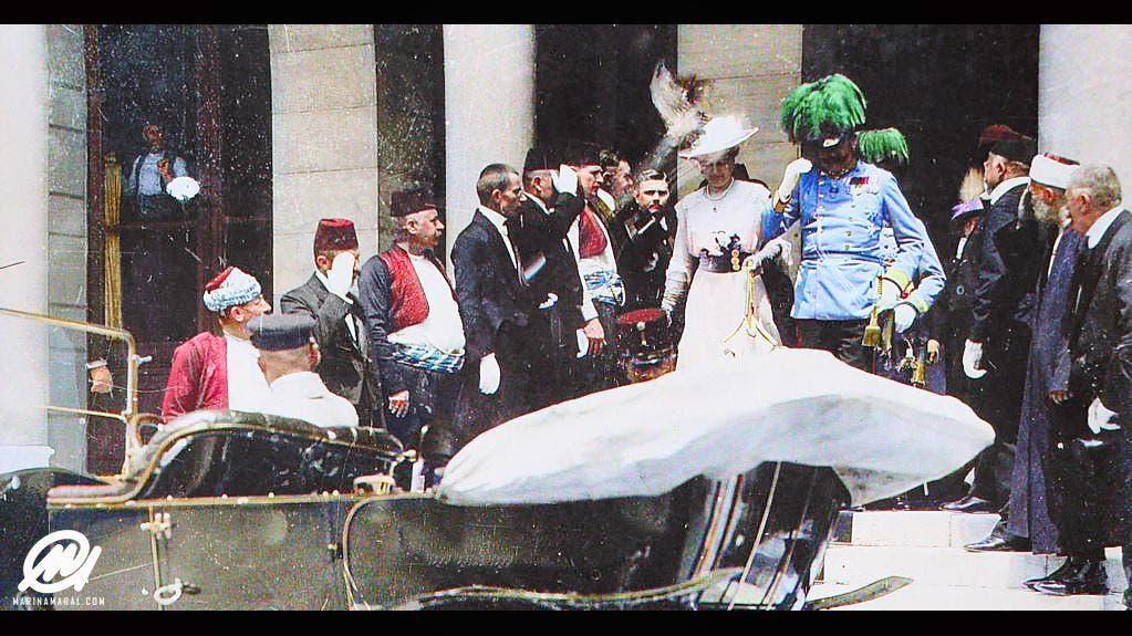 صورة التقطت اعتماداً على التقنيات الحديثة لولي عهد النمسا وزوجته قبل فترة وجيزة من عملية الاغتيال